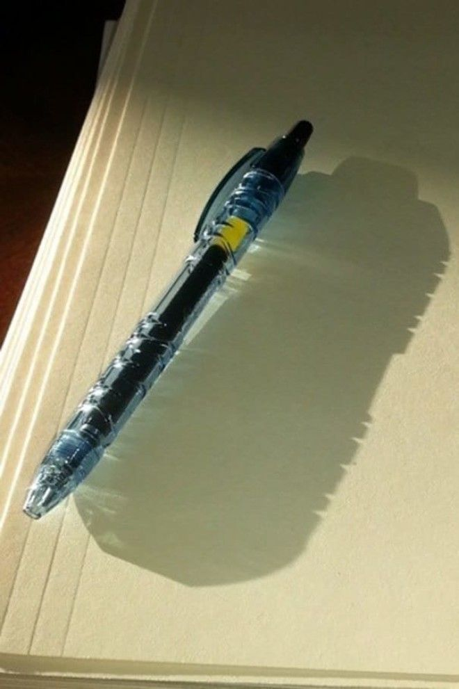Pen Made Of Recycled Water Bottles Casts A Shadow Of A Water Bottle