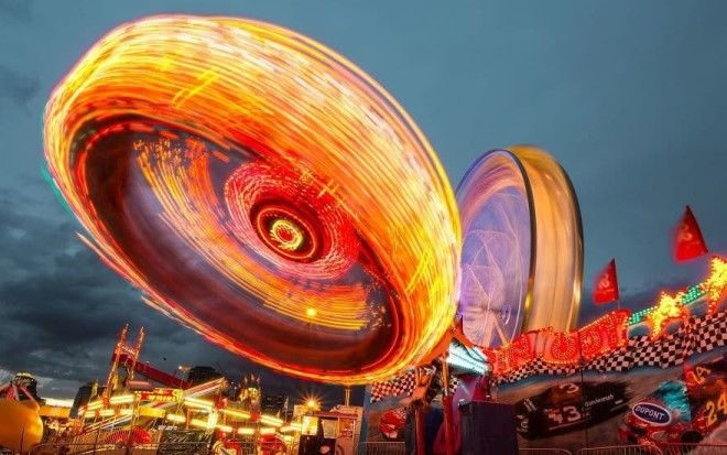 Long Exposure Of A TiltAWhirl