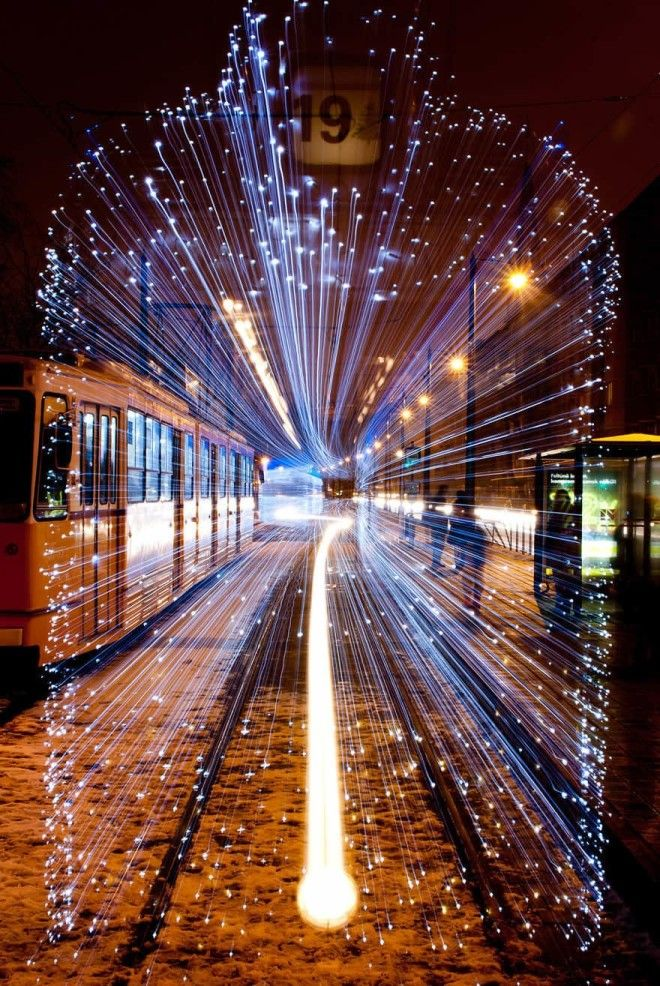 Long Exposure Of A Departing Tram In Budapest Covered With 30000 Leds