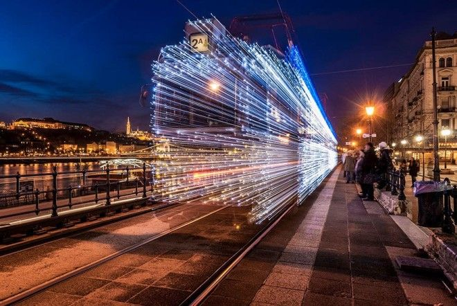 Departing Tram Long Exposure