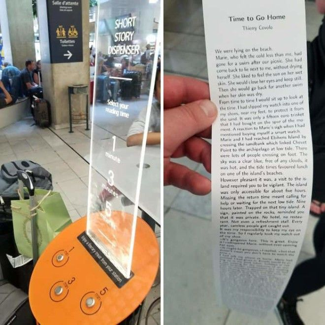 At This Airport They Have A Machine That Will Print Off Free Short Stories For You To Read While You Wait