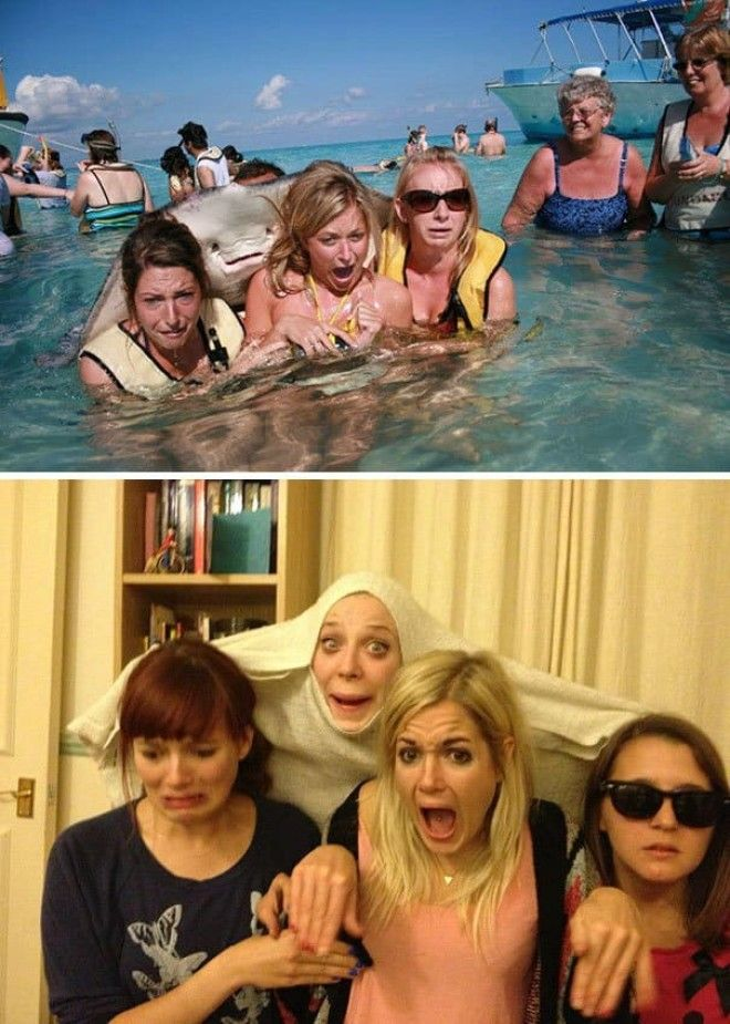 Got A Bit Drunk And Decided To Recreate The Stingray Pic With My Girlfriends