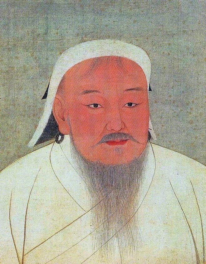 Taizu, better known as Genghis Khan. Portrait cropped out of a page from an album depicting several Yuan emperors (Yuandjai di banshenxiang), now located in the National Palace Museum in Taipei