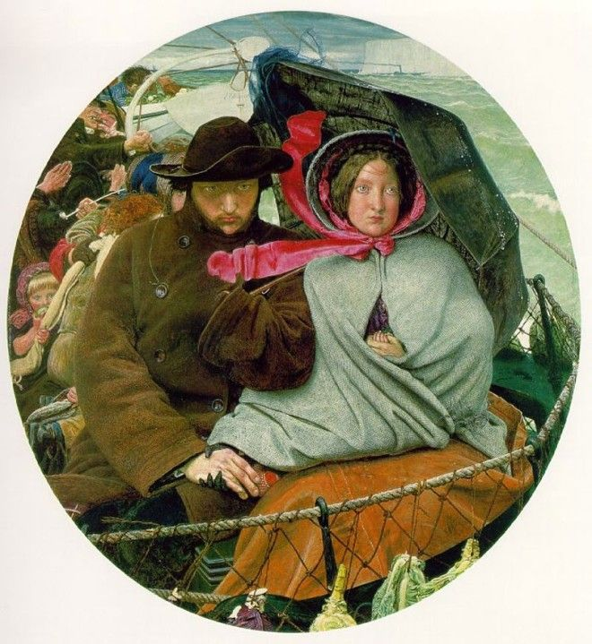 The Last of England depicting an emigrating couple 1855