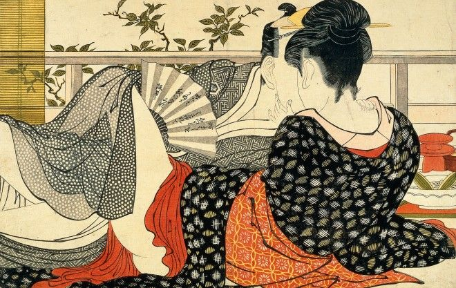 Lovers in the upstairs room of a teahouse from Utamakura Poem of the Pillow ca 1788