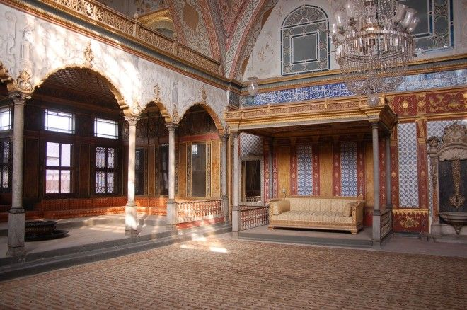 The Imperial Hall (Hünkâr Sofası), also known as the Imperial Sofa is a domed hall in the Harem (it has the largest dome in the palace), where the Sultan's Throne was located