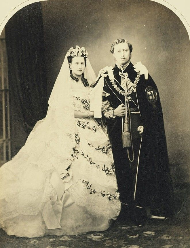 King Edward VII and Queen Alexandra when Prince and Princess of Wales on their wedding day