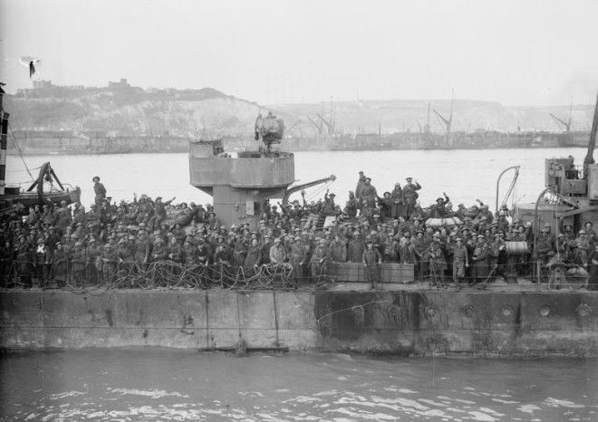 British troops crowd the deck of a Royal Navy destroyer at Dover 31 May 1940