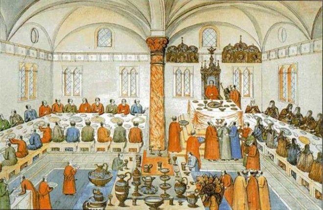 Царский пир в Грановитой палате Московского Кремля. Миниатюра. 1673 г.